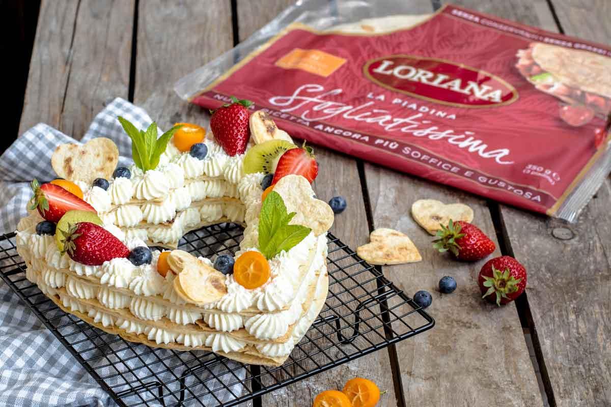 Cream tart di Piadina Loriana con camy cream e frutta