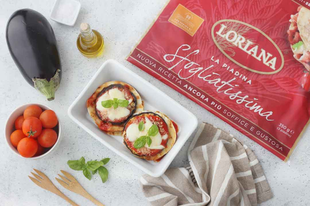 Parmigiana leggera e croccante con piadina Loriana