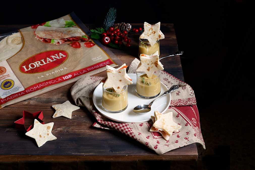 Crema di ceci con stellina di piadina Loriana e formaggio